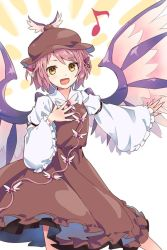 1girl akidzuki_haruhi animal_ears bird_ears bird_wings brown_hat brown_skirt hand_on_own_chest hat long_skirt long_sleeves looking_at_viewer musical_note mystia_lorelei outstretched_arm pink_hair quaver short_hair skirt skirt_set solo touhou wide_sleeves wings yellow_eyes