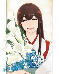 1girl akagi_(kantai_collection) bouquet brown_eyes brown_hair flower japanese_clothes kantai_collection long_hair looking_at_viewer masato_(mirai_koubou) muneate open_mouth smile straight_hair