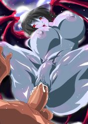 1boy 1girl areolae black_hair blush bouncing_breasts breasts cleavage crying curvy demon_girl female gigantic_breasts gradient_background hetero horns huge_breasts lilim_(monster_farm) monster_farm monster_girl night nipples nude open_mouth penetration penis pixie_(monster_farm) pointy_ears pussy pussy_juice red_eyes sex short_hair spread_legs succubus sweat tears thick_thighs uncensored vaginal wide_hips wings zonfutoshi