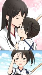 2girls akagi_(kantai_collection) blush bow_(weapon) brown_eyes brown_hair cloud comic crying crying_with_eyes_open dirty_clothes dirty_face female forehead_kiss gradient gradient_background hand_on_own_forehead highres japanese_clothes kaga_(kantai_collection) kantai_collection kiss long_hair mentai_mochi multiple_girls outdoors side_ponytail sky smile straight_hair tasuki tears upper_body weapon white_background