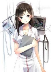 1girl black_hair blue_eyes blush breasts cleavage clipboard dress hat intravenous_drip long_hair looking_at_viewer monitor nurse nurse_cap original reio_reio solo