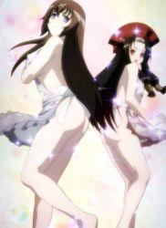 2girls apron ass black_hair breasts brown_hair hobby_japan hyakka_ryouran_samurai_girls large_breasts loli long_hair multiple_girls purple_eyes red_eyes sanada_yukimura_(hyakka_ryouran) standing stitched tokugawa_sen