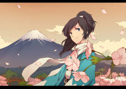 aqua_eyes bridge cloud flower forest hair_ribbon highres japanese_clothes looking_to_the_side mole nature pagoda petals ribbon volcano xinuo223