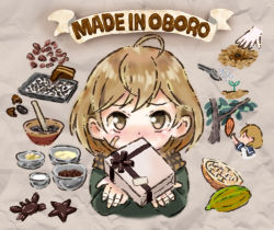 10s 1girl ahoge baking_sheet bandage bandaged_fingers bandaid_on_cheek blush bow bowl brown_bow brown_eyes brown_hair brown_ribbon cacao_fruit chocolate cooking crab english gift grey_background ingredients jacket kantai_collection looking_at_viewer mortar oboro_(kantai_collection) otoufu pestle picking_fruit planting progression ribbon scarf seedling short_hair solo star tray tree watering_can