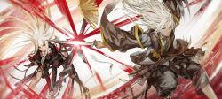 1boy 1girl battle chinese_clothes infukun long_hair pixiv_fantasia pixiv_fantasia_t pointy_ears sword weapon white_hair