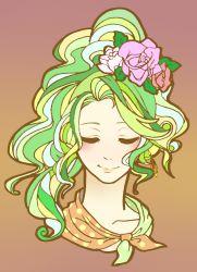 1girl bow butiboco earrings face final_fantasy final_fantasy_vi green_hair hair_ribbon jewelry long_hair ponytail ribbon solo tina_branford