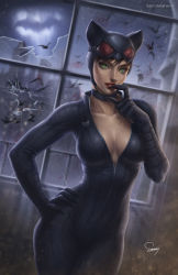 1girl animal_ears bat bat_signal batman_(series) bodysuit breasts brown_hair building cat_ears catwoman cleavage collarbone contrapposto cowboy_shot dc_comics fake_animal_ears goggles goggles_on_head green_eyes hand_on_hip highres large_breasts sam_delatore selina_kyle signature solo tongue tongue_out window