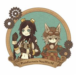 1boy 1girl animal_ears blue_eyes brown_eyes brown_hair frame gears goggles goggles_on_head green_eyes grey_hair looking_to_the_side midriff multicolored_eyes navel original payot pixiv_fantasia pixiv_fantasia_new_world satsumai scroll short_hair_with_long_locks smile suspenders upper_body