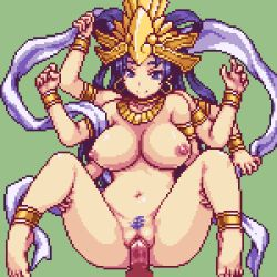 1girl animated animated_gif anus areolae barefoot blue_eyes blue_hair bouncing_breasts breasts earrings feet goddess jewelry kali large_breasts loop monster monster_girl multi_limb nipples nude pixel_art pubic_hair pussy sb sex toes uncensored vaginal