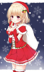 1girl bangs bell blonde_hair blush braid capelet christmas corset cowboy_shot eyebrows_visible_through_hair fur-trimmed_gloves fur-trimmed_legwear fur_trim gloves hair_bell hair_ornament hair_ribbon hands_up hat highres holding kinakon original parted_lips pink_eyes pleated_skirt red_gloves red_legwear red_ribbon red_skirt ribbon sack santa_costume santa_hat skirt snow snowflakes solo striped striped_ribbon thighhighs twin_braids