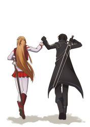 1boy 1girl artist_name asuna_(sao) black_coat black_hair boots braid brown_hair commentary fist_bump french_braid from_behind gloves highres kirito long_hair long_sleeves mysimpleme14 orange_hair pleated_skirt rapier red_skirt sheath sheathed skirt sword sword_art_online sword_behind_back very_long_hair walking walking_away weapon white_background