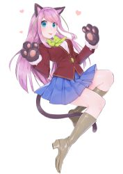1girl :p absurdres animal_ears blazer blue_eyes blush cat_ears cat_paws cat_tail full_body gloves hashimoto_nyaa highres idol jacket long_hair mayuri_kaichou multicolored_hair neck_ribbon osomatsu-san paw_gloves paw_pose paws pink_hair pleated_skirt ribbon school_uniform simple_background skirt smile solo streaked_hair tail tongue tongue_out white_background
