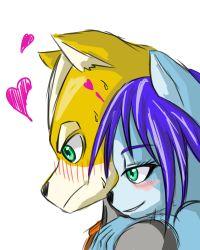 <3 1boy 1girl blue_hair fox_mccloud furry hug krystal nintendo short_hair star_fox