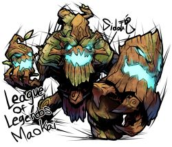 artist_name blue_eyes character_name copyright_name glowing glowing_eyes glowing_mouth league_of_legends looking_at_viewer maokai open_mouth sido_(slipknot) simple_background solo white_background