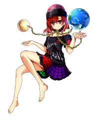 1girl absurdres baba_(baba_seimaijo) bare_shoulders barefoot chains collar earth hat hecatia_lapislazuli highres looking_at_viewer moon off_shoulder red_eyes red_hair shirt skirt smile solo touhou