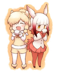 2girls ^_^ alpaca_ears alpaca_suri alpaca_tail bangs beige_boots beige_shorts beige_vest bird_tail bird_wings black_footwear black_shoes blonde_hair blunt_bangs blush boots buttons chibi collar crested_ibis_(kemono_friends) cup drinking expressionless eyebrows_visible_through_hair eyelashes eyes_closed frilled_sleeves frills full_body fur-trimmed_boots fur-trimmed_sleeves fur_collar fur_trim gloves gradient_hair gradient_ribbon hair_bun hair_ornament hair_over_one_eye hair_ribbon head_wings hitec holding holding_cup japari_symbol jitome kemono_friends long_sleeves mary_janes multicolored multicolored_background multicolored_hair multiple_girls neck_ribbon no_nose open_mouth orange_background pantyhose pleated_skirt red_gloves red_hair red_legwear red_ribbon red_skirt ribbon shirt shoe_ribbon shoes short_hair short_hair_with_long_locks sidelocks simple_background skirt smile standing swept_bangs teacup tress_ribbon two-tone_background two-tone_hair vest white_background white_hair white_legwear white_ribbon white_shirt wide_sleeves wings yellow_eyes yellow_ribbon |d