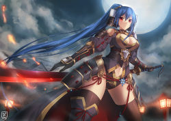 1girl armor black_legwear blue_hair blush bracer breasts cleavage cleavage_cutout cloud cloudy_sky curvy dutch_angle full_moon hair_ornament japanese_armor katana lamppost large_breasts long_hair looking_at_viewer luzi moon navel original ponytail red_eyes sky solo standing sword very_long_hair weapon wide_hips