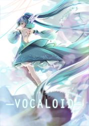 1girl 2014 aqua_eyes aqua_hair artist_name copyright_name dated detached_sleeves dress floating_hair hatsune_miku highres long_hair looking_back outstretched_arm solo tattoo twintails very_long_hair vilor vocaloid