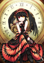 1girl bare_shoulders black_boots black_bow black_hair boots bow chiiririn closed_mouth date_a_live female frilled_dress frills gothic gothic_lolita gun heterochromia holding_gun holding_weapon lolita_fashion lolita_hairband long_hair looking_at_viewer smile solo tokisaki_kurumi twintails weapon