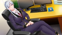 1girl belt blue_eyes blush breasts chair computer computer_mouse eigyoubu_dai_4-ka_mesubuta_choukyou_shiikukakari game_cg highres keyboard large_breasts legs legs_crossed looking_at_viewer monitor monpuchi office sitting smile solo table thighs white_hair