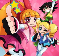artist_request hyper_blossom powered_buttercup powerpuff_girls_z rolling_bubbles smile wink