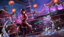 1girl architecture bridge brown_hair butterfly dutch_angle east_asian_architecture hair_ornament highres lantern looking_to_the_side natsumoka original outdoors paper_lantern purple_eyes purple_legwear purple_sky railing scenery standing tower wand water waves