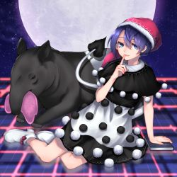 13_(spice!!) 1girl ankle_boots arm_support blue_eyes blue_hair book boots capelet checkered checkered_floor doremy_sweet dream_soul dress eating finger_to_mouth full_moon fur_trim hat highres looking_at_viewer moon night night_sky nightcap parted_lips pom_pom_(clothes) short_hair sitting sky solo star_(sky) starry_sky tapir touhou white_footwear yokozuwari