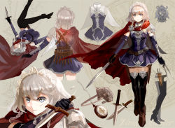 1girl adapted_costume bangs belt black_gloves black_legwear blue_dress boots braid breasts brown_boots cape closed_mouth cuts detached_sleeves dress full_body gloves holding holding_knife holding_sword holding_weapon holster injury izayoi_sakuya keiko_(mitakarawa) knife knives_between_fingers looking_at_viewer maid_headdress multiple_views pauldrons short_dress short_hair short_sword silver_eyes silver_hair small_breasts sword thigh_holster thighhighs touhou twin_braids weapon