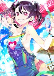 119 1girl \m/ black_hair breasts commentary_request hair_bobbles hair_ornament hose long_hair looking_at_viewer love_live! love_live!_school_idol_project no_bra outdoors overalls panties pink_panties red_eyes sideboob smile solo suspenders twintails underwear water wet yazawa_nico