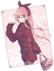1girl aran_sweater azuchi bag blue_eyes blush bow breasts dress earrings eyebrows frame glasses hairband handbag jewelry long_hair long_sleeves looking_at_viewer megurine_luka open_mouth pantyhose patterned patterned_clothing pink_hair solo sweater sweater_dress turtleneck very_long_hair vocaloid