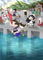 akagi_(kantai_collection) barrel blood clothesline female_admiral_(kantai_collection) fishing_rod fubuki_(kantai_collection) fundoshi hair_ribbon highres houshou_(kantai_collection) japanese_clothes kaga_(kantai_collection) kantai_collection kitakami_(kantai_collection) long_hair multiple_girls nosebleed ooi_(kantai_collection) ribbon rin.hayashiki shoukaku_(kantai_collection) side_ponytail twintails zuikaku_(kantai_collection)