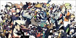 6+boys 6+girls adeku_(pokemon) aloe_(pokemon) anniversary anthea_(pokemon) araragi_(pokemon) araragi_papa arty_(pokemon) baseball_cap bel_(pokemon) cattleya_(pokemon) cheren_(pokemon) concordia_(pokemon) corn_(pokemon) dark_trinity dent_(pokemon) domu_(hamadura) elite_four everyone fuuro_(pokemon) geechisu_(pokemon) giima_(pokemon) gym_leader hachiku_(pokemon) hat highres holding holding_poke_ball iris_(pokemon) kamitsure_(pokemon) kudari_(pokemon) looking_at_viewer makomo_(pokemon) multiple_boys multiple_girls n_(pokemon) nobori_(pokemon) oshawott pod_(pokemon) poke_ball pokemon pokemon_(game) pokemon_bw pose renbu_(pokemon) shaga_(pokemon) shikimi_(pokemon) smile snivy team_plasma team_plasma_grunt tepig touko_(pokemon) touya_(pokemon) yacon_(pokemon) zorua
