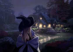 1girl blonde_hair bow building canzhajiang commentary_request flower from_behind hat highres house kirisame_marisa night outdoors puffy_short_sleeves puffy_sleeves short_sleeves smoke solo touhou tree witch_hat