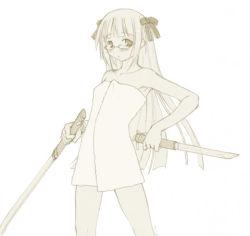 armpits blush bow dual_wielding flat_chest glasses hair_bow kasuga_yukihito long_hair mahou_sensei_negima! monochrome naked_towel solo sword towel tsukuyomi_(negima) weapon