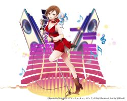 artist_name blue_eyes boots bra breasts brown_boots brown_eyes brown_hair character_request chibi cleavage collar collarbone crop_top full_body high_heel_boots high_heels large_breasts leaf_(kohakoo) meiko microphone microphone_stand midriff miniskirt musical_note nail_polish one_eye_closed open_mouth quaver red_nails red_skirt semiquaver silver_hair skirt smile speaker standing standing_on_one_leg treble_clef underwear vocaloid watermark wrist_cuffs