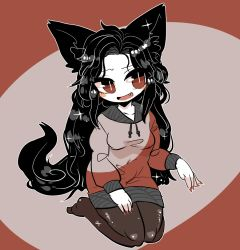 1girl adapted_costume animal_ears black_hair blush_stickers breasts brown_legwear fang hand_gesture imaizumi_kagerou lavender_background long_hair magenta_background nail_polish no_shoes pantyhose red_eyes red_nails seiza shiny shiny_hair sitting small_breasts solo sweater tail talking touhou two-tone_background very_long_hair wolf_ears wolf_tail yt_(wai-tei)