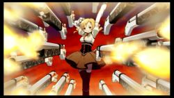 1girl beret black_border blonde_hair border detached_sleeves drill_hair firing firing_at_viewer game_cg gradient gradient_background gun hair_ornament hat magical_girl magical_musket mahou_shoujo_madoka_magica mahou_shoujo_madoka_magica_portable musket official_art pointing pointing_at_viewer puffy_sleeves rifle skirt smile solo striped striped_legwear summoning thighhighs tomoe_mami twin_drills twintails vertical_stripes weapon yellow_eyes