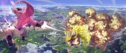 2boys antennae aura battle beam blonde_hair blue_sky boots cloud dougi dragon_ball dragonball_z electricity energy_beam epic explosion flying glowing_hair highres horizon kirakira landscape long_hair majin_buu midair monster_boy mountain multiple_boys pink_skin planet scenery shirtless sky son_gokuu spiked_hair stflash super_saiyan super_saiyan_3 wristband