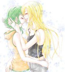 2girls alternate_costume arm artist_request bare_arms bare_shoulders black_tank_top blonde_hair blush eyes_closed female green_hair gumi happy hoodie hug laughing lily_(vocaloid) long_hair multiple_girls mutual_yuri off_shoulder open_mouth round_teeth short_hair sleeveless sleeveless_hoodie smile strap_slip tank_top vocaloid yuri