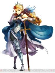 1girl adjusting_hair arm_behind_head armor blonde_hair blue_eyes breasts cape earring feather female gladius_ringland gloves grand_knights_history jewelry large_breasts legs_crossed logo long_gloves long_hair lowres official_art queen solo standing sword weapon
