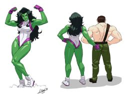 1boy 1girl ass ass_grab breasts brown_hair crossover diepod final_fight fingerless_gloves flexing from_behind gloves green_hair green_skin hand_on_hip hands_on_hips leotard long_hair marvel marvel_vs._capcom marvel_vs._capcom_3 mike_haggar muscle pose she-hulk shirtless shoes smile sneakers