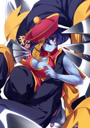 >:/ 1girl bare_arms blue_hair blue_skin blush blush_stickers breasts chinese_clothes claws cleavage cleavage_cutout closed_mouth flipped_hair foreshortening hat highres jiangshi large_breasts lei_lei long_sleeves looking_at_viewer ofuda red_eyes short_hair solo ugume vampire_(game)