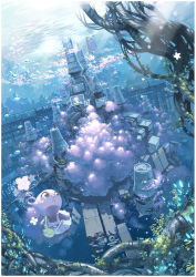 bag blue_eyes dress flower handbag highres imoman monster original tree underwater