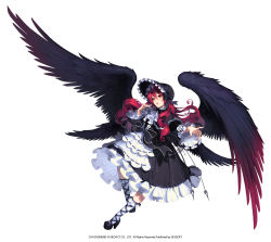1girl chaos_heroes_online character_request dress full_body hat highres long_hair love_cacao open_mouth red_eyes red_hair standing_on_one_leg wings