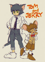 2boys animal_ears black_necktie boots bow bowtie bright_pupils brown_hair cat_ears cat_tail copyright_name gloves green_eyes grey_background grey_hair hands_on_hips jerry_(tom_and_jerry) male_focus mouse_ears mouse_tail multiple_boys necktie oldschool one_eye_closed open_mouth paw_print paw_shoes pawa_(bugendai_shounen) personification red_bow red_bowtie shoes short_hair simple_background smile socks standing standing_on_one_leg suspenders tail tom_(tom_and_jerry) tom_and_jerry waistcoat white_gloves yellow_sclera