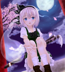1girl blue_eyes cherry_blossoms dutch_angle full_moon hair_ribbon juni_(junijuni28) konpaku_youmu konpaku_youmu_(ghost) loafers looking_at_viewer moon night outdoors outstretched_hand panties pantyshot pantyshot_(sitting) parted_lips ribbon sheath sheathed shoes short_hair silver_hair sitting skirt skirt_set socks solo stairs sword touhou tree_branch underwear weapon white_panties