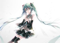1girl detached_sleeves gradient_background green_eyes green_hair hatsune_miku long_hair looking_at_viewer n_n_(vbdpsep) necktie skirt solo thighhighs twintails very_long_hair vocaloid