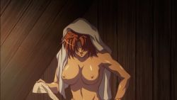 1girl animated animated_gif bouncing_breasts breasts dark_skin facepalm large_breasts long_hair nipples nude queen's_blade red_hair risty sitting solo