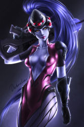 1girl arm_tattoo backlighting black_gloves bodysuit breasts collarbone cowboy_shot dakonta eyeliner facing_viewer gloves gun head_mounted_display highres holding holding_gun holding_weapon light_smile lips long_hair looking_away looking_to_the_side makeup medium_breasts overwatch pink_bodysuit ponytail purple_background purple_hair purple_skin rifle short_sleeves skin_tight sniper_rifle solo tattoo very_long_hair visor weapon widowmaker_(overwatch) yellow_eyes