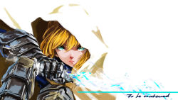1girl ahoge armor blonde_hair cloak excalibur fate/stay_night fate_(series) forminori gauntlets green_eyes highres hood invisible_air saber solo